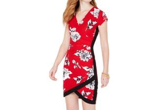 Almost Famous Juinor Dress Red Size Medium M Sheath Faux Wrap Floral