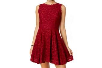 City Studio Juinor Dress Red Size 1 A-Line Fit & Flare Floral Lace
