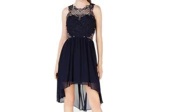 City Studio Juinor Dress Blue Size 1 A-Line High Low Shimmer Embellish