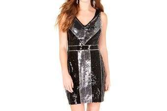 B. Darlin Juinor Dress Silver Black Size 2 V Neck Colorblock Sequin
