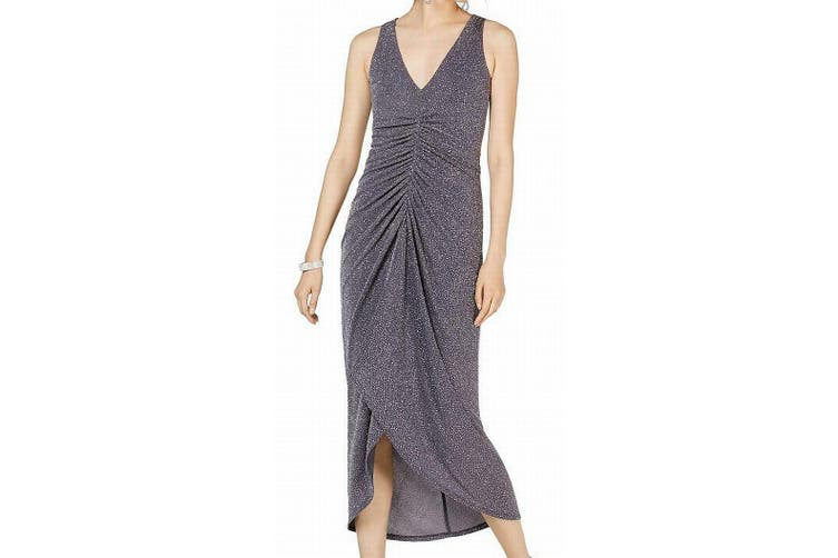Vince Camuto Women's Dress Gray Size 8 Sheath Metallic V-Neck Ruched