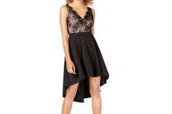 City Studio Women's Dress Black Size 0 A-Line Scallop Lace Hi Low
