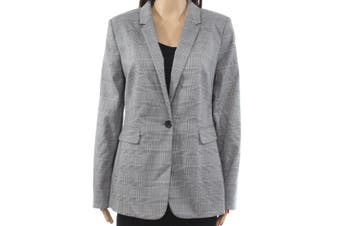 DKNY Women's Jacket Gray Size 8 Plaid-Print Notched-Collar One-Buttons