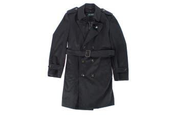 Lauren By Ralph Lauren Mens Black Size 40R Double Breast Rainwear Coat