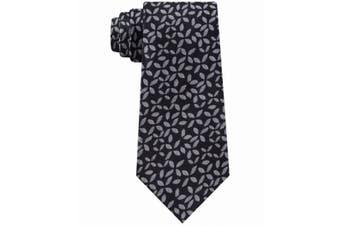 Calvin Klein Men's Black Slim Geometric Floral Skinny Neck Tie Silk