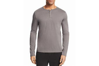 ATM Mens Shirt Gray Size 2XL Long Sleeve Solid Three-Button Henley