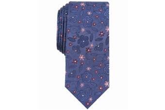 Bar III Men's Navy Blue Stengel Floral Skinny Slim Neck Tie Silk