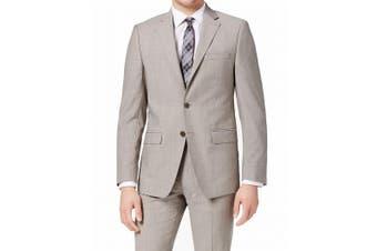 Calvin Klein Mens Blazer Light Gray Size 42 Long Wool Slim Fit Notched