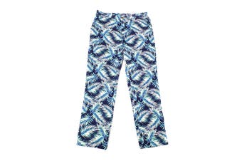 Club Room Mens Pants Blue Size 34X32 Palm Leaf Straight Leg Stretch