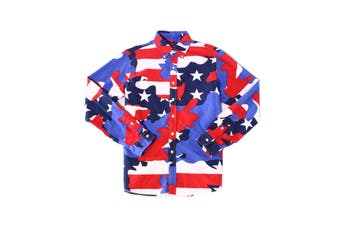 Ralph Lauren Mens Shirt Blue Large L Americana Camo Button Down