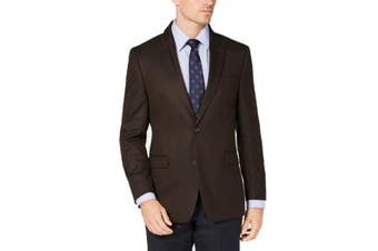 Tommy Hilfiger Mens Blazer Solid Brown Size 36 Short Two Button