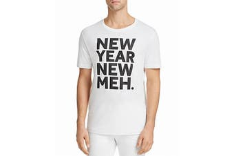 Noize Mens T-Shirt White Size Large L New-Year New-Meh Graphic Tee
