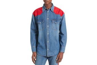 Calvin Klein Jeans Mens Shirt Jacket Blue Red Size XL Oversized