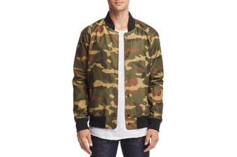 Designer Brand Mens Jacket Green Size Small S Camo Print Flight/Bomber