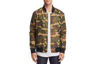 Designer Brand Mens Jacket Green Size Large L Camo Print Flight/Bomber