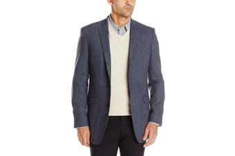 Designer Brand Mens Blue Size 48 Long Sportswear Coat Wool Blend