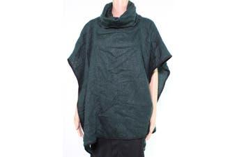 BCBG Generation Women's Sweater Green One Size Cowl Neck Pocket Poncho