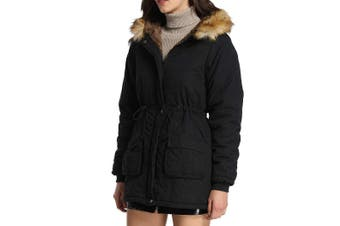 4How Women's Jacket Solid Deep Black Size 14 Faux-Fur Zip Front