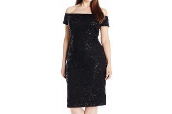 Alex Evenings Women's Dress Black Size 20W Plus Sheath Off Shoulder