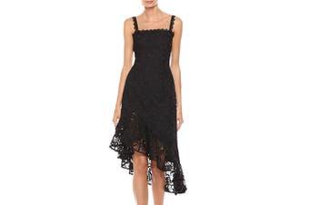 Amur Women's Dress Black Size 2 Sheath Lace Illusion Asymmetrical