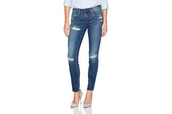 BLANKNYC Women's Blue Size 29 Mid-Rise Stretch Distressed Skinny Jeans