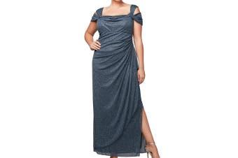 Alex Evenings Womens Dress Blue Size 14 Gown Glitter Cold Shoulder