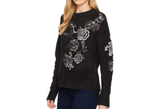 Blanc Nyc Women's Sweater Black Size XS Pullover Floral Embroidered