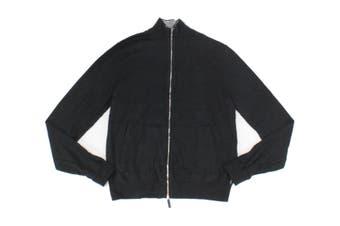 Armani Exchange Mens Sweater Black Size Large L Full Zip Mock-Neck