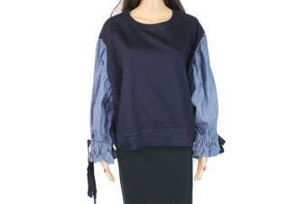 Armani Exchange Women's Blouse Denim Blue Size Medium M Tie Sleeve