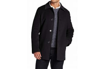 Cole Haan Mens Coat Black Size Medium M Single Breasted Classic Wool