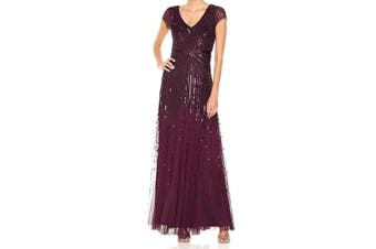 Adrianna Papell Women's Dress Cassis Purple Size 4 Gown V-Neck Beaded