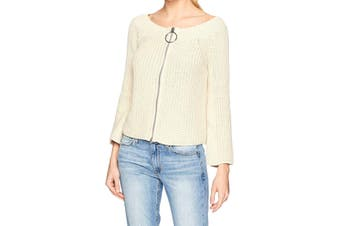 525 America Women's Knitted Sweater Beige Size Small S Full-Zip