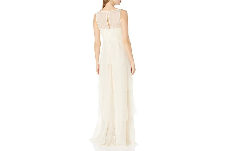 Adrianna Papell Women's Dress Beige Size 8 Gown Tiered Embroidered
