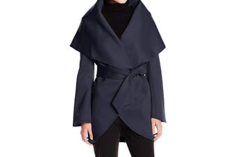 Anorak Women's Coat Navy Blue Size Small S Lightweight Wrap Belted