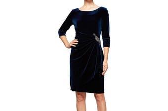 Alex Evenings Women's Dress Blue Size 12 Velvet Starburst Embellished