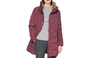 Cole Haan Women's Coat Merlot Red Size XL Full-Zip Faux-Fur Collar