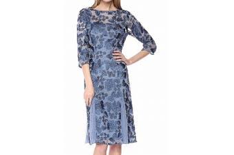 Alex Evenings Women's Dress Antique Blue Size 12 Sheath Embroidered