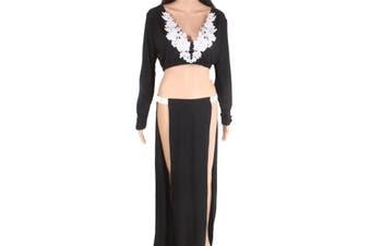 Designer Brand Women's Full Skirt Black Size Small S Side Slits 2-Piece