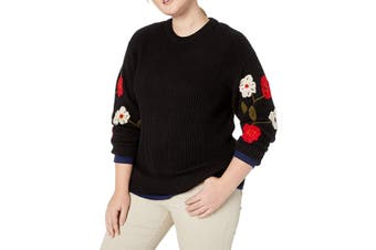 Lucky Brand Women's Sweater Black Size 2X Plus Pullover Embroidered