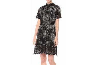 BB Dakota Women's Aria Dress Black Size 2 A-Line Lace Scallop Hem