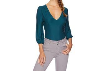 BB Dakota Women's Top Solid Emerald Green Size XS Bodysuit V-Neck