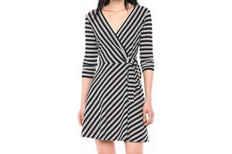 Bailey 44 Women's Dress Black Size Large L A-Line Striped Surplice Rib