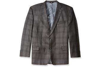 Haggar Mens Black Size 42R Classic Fit Plaid Print Sports Jacket Wool