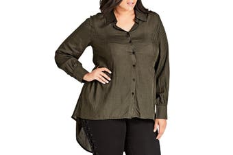 City Chic Women's Blouse Green Size Medium M Button Down High Low