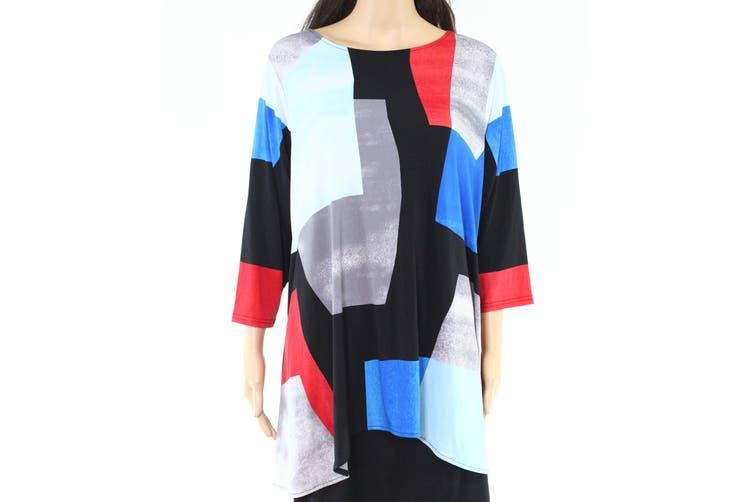 Alfani Women's Blouse Blue Size 2X Plus Colorblocked Handkerchief Hem