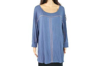 Belle Women's Blouse Muted Blue Size 2X Plus Knit Studded Scoop Neck