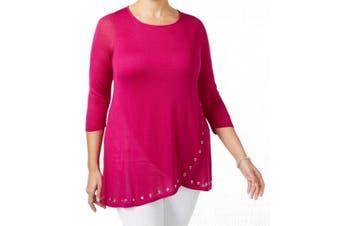 Belldini Women's Top Hot Fuchsia Pink Size 2X Plus Tunic Grommet