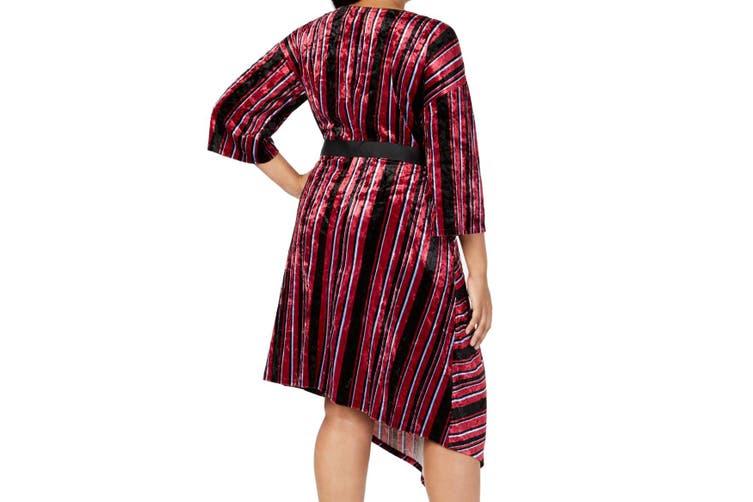 NY Collection Women Dress Red Size 2XP Plus Petite A-Line Velvet Stripe