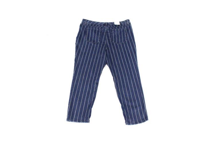 Style & Co Womens Jeans Blue Size 18W Plus Stretch Striped Slim Ankle