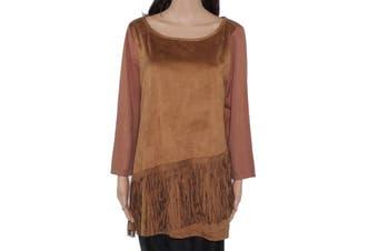 INC Women's Sweater Chesnut Brown Size XL Suede Pullover Fringe Hem